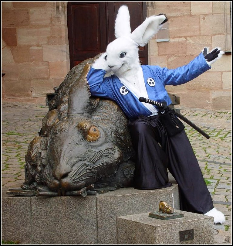 My Fursuit dressed as Usagi Yojimbo - EF 12 - Nürnberg photo Tioh_Usagi_and_the_hare.jpg